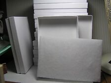 "10 White Gift Jewelry Boxes Cardboard Swirl Pattern OD 6"" X 4 1/8"" X 1"""