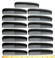 15 UNBREAKABLE HEAVY DUTY BLACK PLASTIC MEN'S POCKET HAIR COMB QUALITY USA MADE