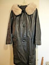 Vintage 70s Women's Genuine Leather Silver Fox Fur Collar Belted Jacket Coat/Lg