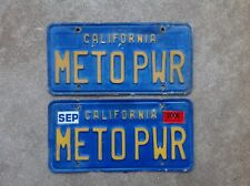 (2) - MATCHING PAIR 1970'S CALIFORNIA VANITY LICENSE PLATES