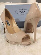 Prada Nude Patent Leather Peep Toe Platform 37.5 $800