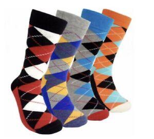12/6 Pairs Men's/boys Bright Argyle Diamond Cotton Rich Lycra Design Socks