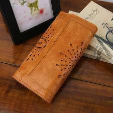 Stylish Vintage Women PU Leather Clutch Purse Carved Hollow Ladies Wallet F# C7o