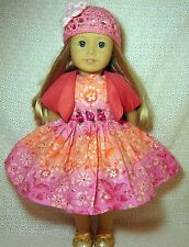 "Doll Clothes Coral Pink Flowers Dress Shrug Hat 4-Pc fits American Girl 18""*33"