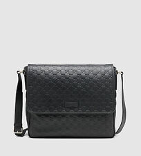 NWT GUCCI Men's classic black guccissima leather messenger bag Made in ITALY