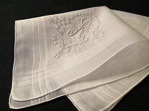 "9140🌟Vintage 40s Madeira Monogram ""R"" Wedding Handkerchief Heirloom"