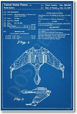 Star Trek - Klingon Ship Patent - NEW Invention Patent Movie Art POSTER
