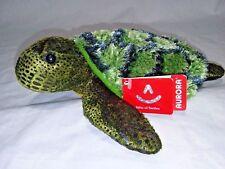 "Nwt Aurora Splish Splash Sea Turtle 8"" Green Plush Sea Life Bean Bag Stuffed Toy"