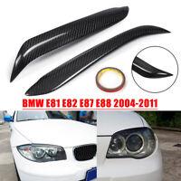 Carbon Fiber Headlight Eyebrows Eyelids Cover For BMW E81 E87 E82 E88