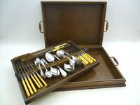 Oak Canteen Of Cutlery Becomes Two Trays Pearson Brothers Nottingham 6 Place Set