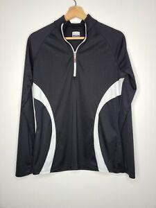 Calloway Golf Womens Shirt Black White Trim 1/4 Zip Long Sleeve Size Large