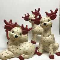 Set Of 3 Vintage Large Quilted Kimple Reindeer With Sleigh And Santa