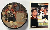 Mike Ricci #18 Philadelphia Flyers Pinnacle Training Card & Puck