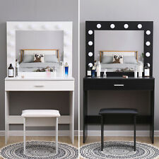 Modern Dressing Table Makeup Desk w/LED Lighted Mirror&Drawer,Stool Bedroom