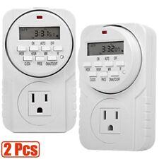 2 Pcs 7-Day Digital Timer Programmable Socket Outlet Plug Switch AC 115V 15A