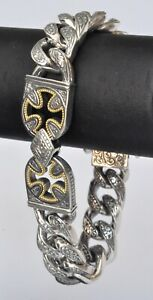 Konstantino Men's Link Bracelet Crosses  Sterling Silver 18K Gold Stavros