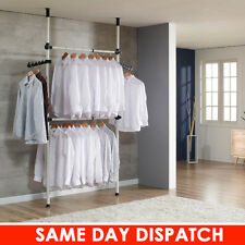 Telescopic Wardrobe Organizer Heavy Duty Movable Hanging Rail Garment Rack