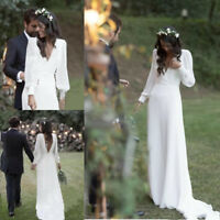 Boho Satin Long Sleeve Wedding Dress Bridal Gown Custom Made 2 4 6 8 10 12 14 +
