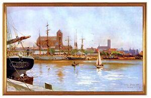 Der Hafen von Wismar um 1909 Deutsches Kaiserreich Gemälde Stöwer A2 LW 16