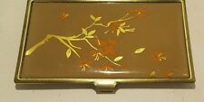 Brass Business Card Holder Tree Branch & Leaves Glass Design