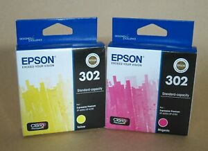 [1307*] TWO (2x) EPSON 302 INKS -  YELLOW AND MAGENTA  ( RRP>$44 )