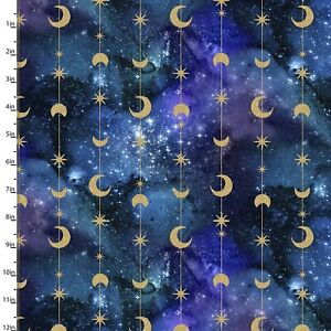 3 Wishes Fabric - Magical Galaxy Blue & Black Space Star Moon YARD