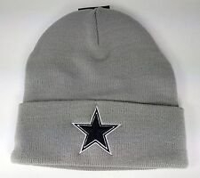 Dallas Cowboys Basic Knit Gray Raised Cuffed Winter Field Beanie Sideline Hat