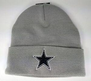 Dallas Cowboys Basic Knit Gray Raised Cuffed Winter Field Beanie Sideline Hat
