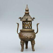 Collect China Old Bronze Hand-Carved Myth Dragon Moral Bring Luck Incense Burner