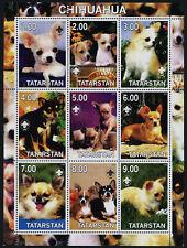 Tatarstan m/s of 9 MNH Dogs, Chihuahua, Scouts