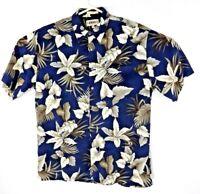 Campia Moda Men's Size Lg Hawaiian Floral Style Rayon Short Sleeve Blue Shirt