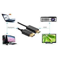 Display Port DP to HDMI MALE-to-MALE LCD PC HD TV LAPTOP  CABLE ADAPTOR Black