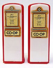 1950's COOP GASOLINE pair of matched GAS PUMP salt & pepper shakers *