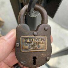 Yuma Territorial Prison Working Cast Iron Lock W/ 2 Keys W/ Rusty Antique Finish