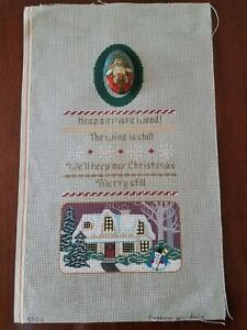 Christmas Sampler w/Medallion, Dede--Hand Painted Needlepoint Canvas, w/guide