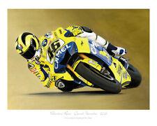 Valentino Rossi Camel Yamaha - MotoGP Motorcycle Racing Print Steve Dunn Poster
