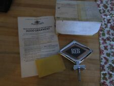 """Vintage Automark personalized HOOD ORNAMENT """"REB"""" new in box pat. applied for"""