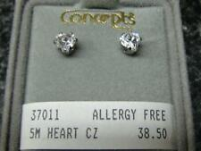 Concepts Non-Allergic Surgical Stainless Steel 5mm Heart Clear CZ Earrings
