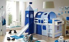 Lit mezzanine avec toboggan et tour TOBY R Hêtre massif teinté blanc tissus Bleu