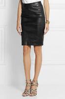 New Genuine Lambskin Leather Pencil Skirt High Waist Paneled Above Knee Women