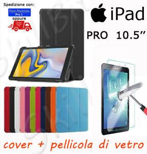 CUSTODIA COVER CASE STAND UP PELLE PER APPLE IPAD PRO 10.5'' IPOD 10,5'' + VETRO