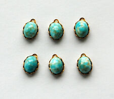 VINTAGE 6 HIGH DOME GLASS OVAL BEAD PENDANTS TURQUOISE MATRIX • 8x10mm