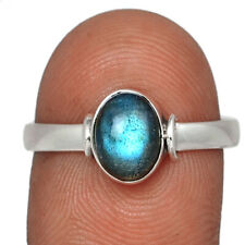 Labradorite - Madagascar 925 Sterling Silver Ring Jewelry s.8.5 AR138516 44D