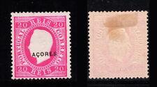 1885 Portugal Azores D. Luis 20 reis #58. Mint Without Gum. W/ CERTIFICATE.