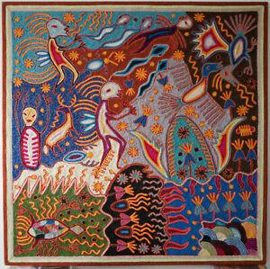 Mexican Huichol Yarn Painting By Ceferino Diaz Benitez Spirits Shamen