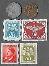 Rare Old Antique WWII WW2 Nazi Germany Swastika Coin Stamp German Collection Lot