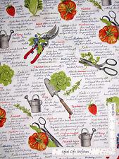 Kitchen Vegetable Fruit Garden Words White Cotton Fabric Robert Kaufman - Yard