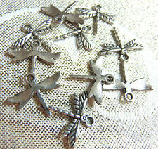 10 DRAGONFLY SILVER CHARMS CRAFT JEWELLERY MAKING BRACELET PENDANT