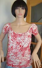 TOPS ,LADIES  TOP RED & WHITE  FLORAL  SIZE  8