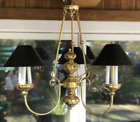 Vintage Brass EMPIRE BOUILLOTTE CHANDELIER 3 Black Tole Shades COLONIAL 1994